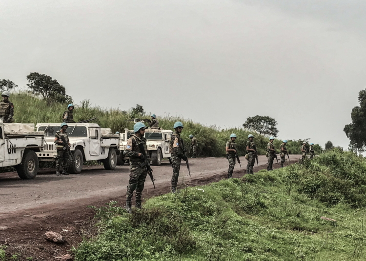 Virunga National Park, DRC, February 22nd 2021. United Nations peacekeepers secure the area where the Italian ambassador to Congo, Luca Attanasio, was killed in an apparent kidnapping attempt on Monday. An Italian embassy official and a Congolese World Food Programme driver were also killed in the ambush which took place near Nyiragongo volcano in Virunga Park. © Austere Malivika for Fondation Carmignac