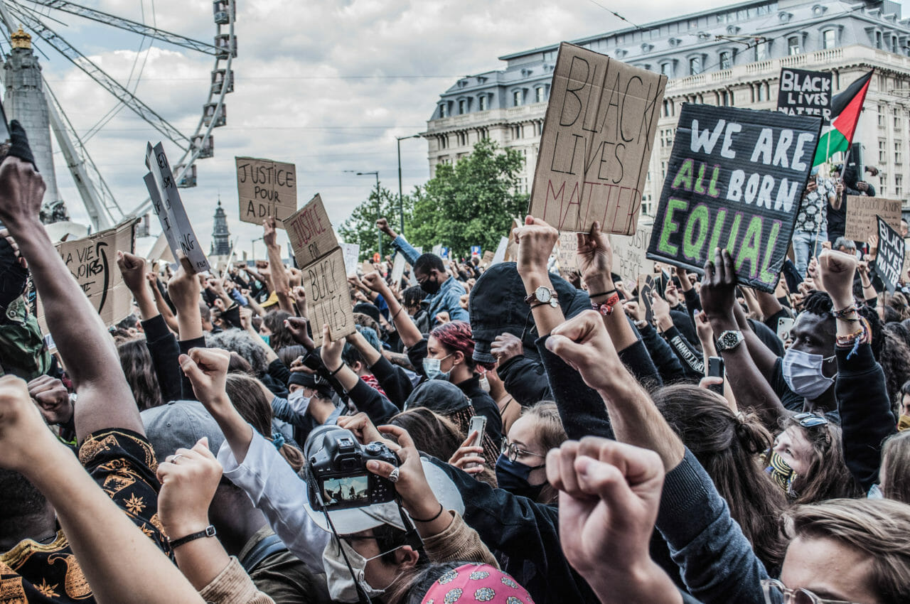 Brussels, Belgium, June 6-7, 2020. Protesters at a Black Lives Matter rally in Brussels this weekend, where some protesters denounced Belgium's imperial exploitation of what is now the Democratic Republic of Congo. © Pamela Tulizo for Fondation Carmignac