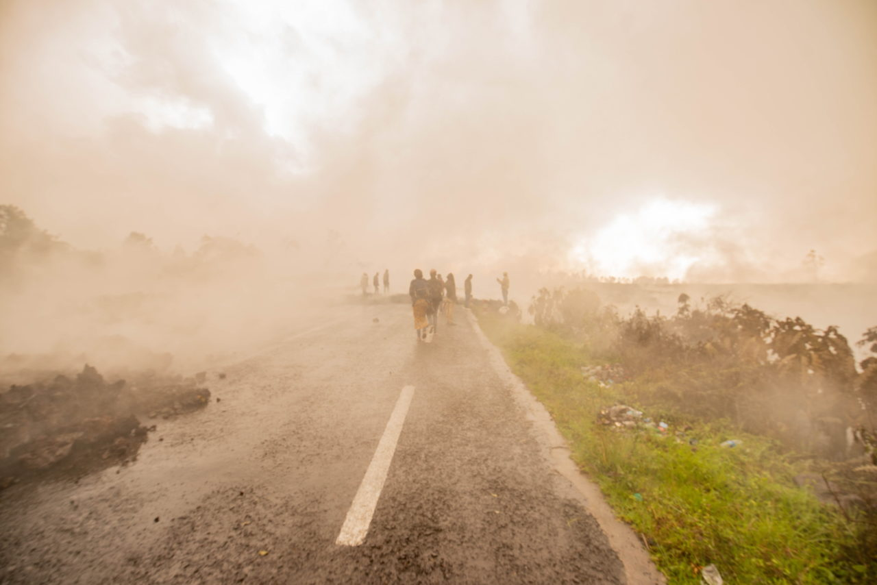 Congo in Conversation contributor Moses Sawasawa was also filing pictures to Agence France-Press, including this image of the main road north of Goma, which had been buried in parts by the lava flow.