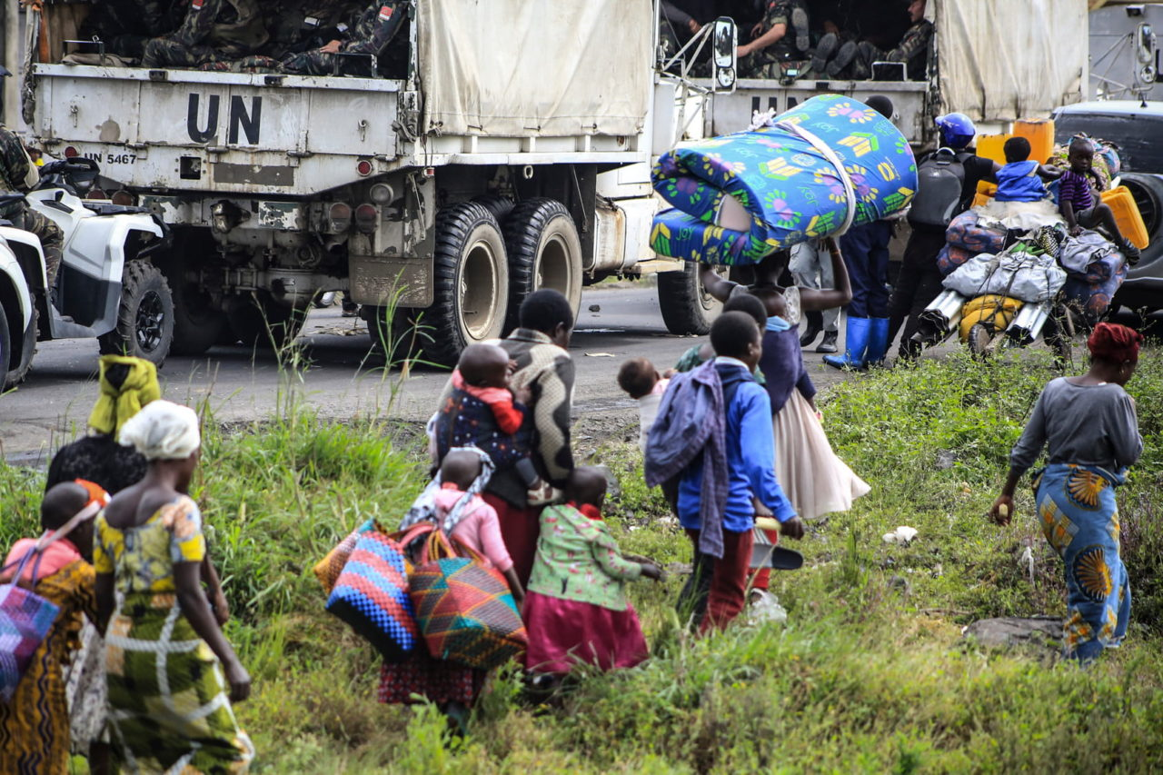 People flee Goma towards the town of Sake five days after the eruption following an order from the government to evacuate the city for fear of another eruption. Ley Uwera for Fondation Carmignac