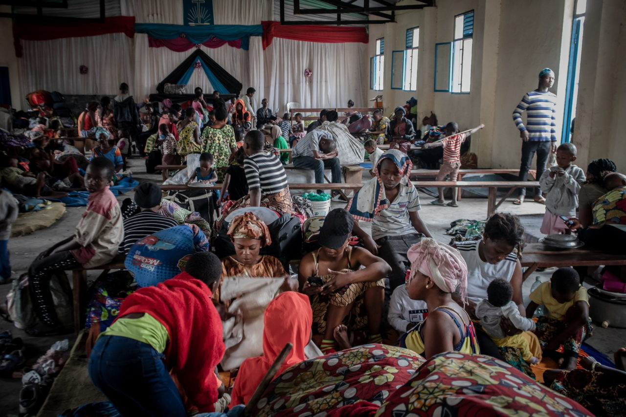 People seek refuge in a church in the town of Sake after the government ordered the evacuation of most of the city of Goma, leaving hundreds of thousands of people displaced and with almost no assistance. Guerchom Ndebo for Fondation Carmignac