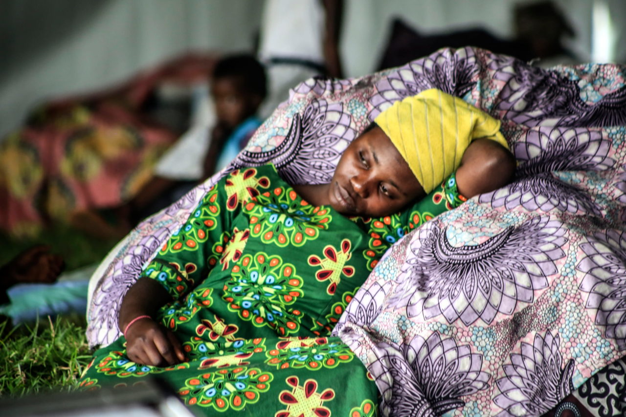 Bahati, who fled across the border into Rwanda, rests at a centre for people displaced by the eruption, in Rugero, Rwanda. Ley Uwera for Fondation Carmignac