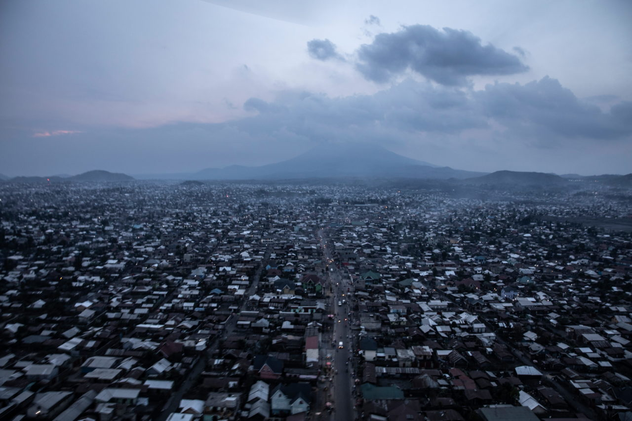 Mount Nyiragongo looms above the city of Goma in eastern Democratic of Congo on Sunday May 30, eight days after the eruption. Finbarr O'Reilly for Fondation Carmignac