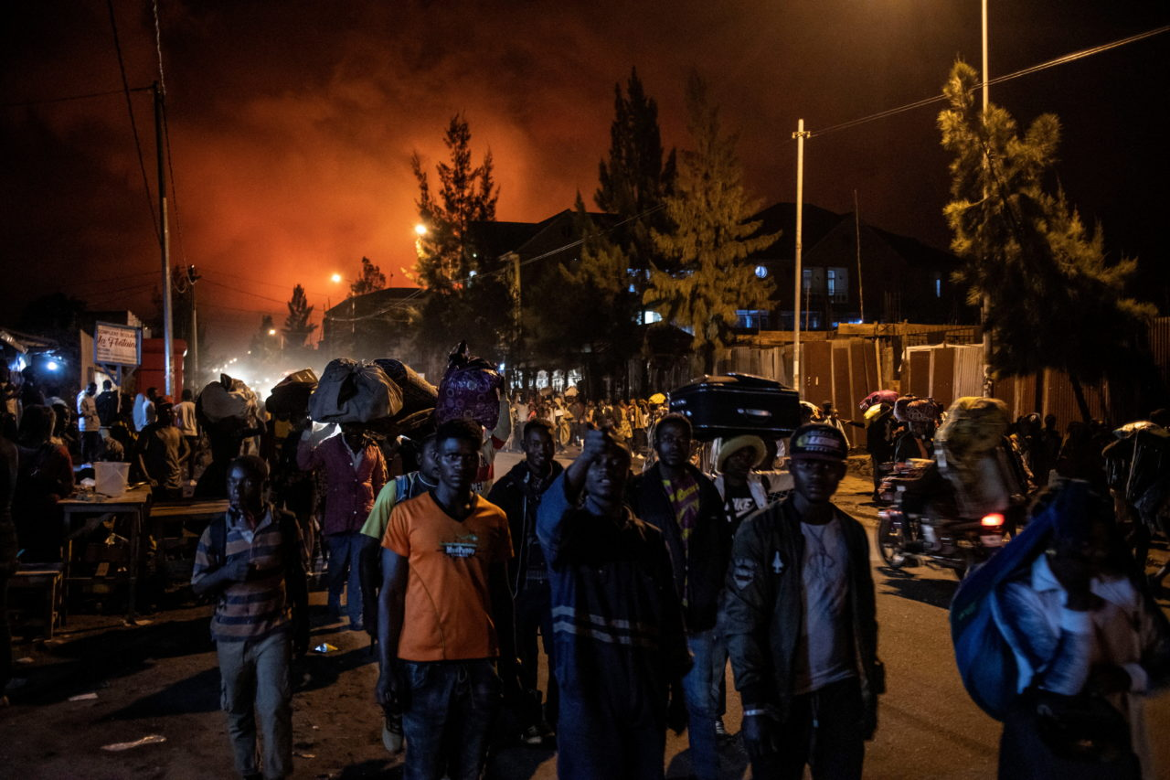 Residents flee the eruption of Nyiragongo volcano on the night of May 22. Finbarr O'Reilly for Fondation Carmignac