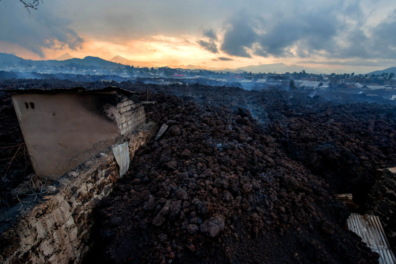 General view of destruction caused by the lava flow the morning after the eruption of Nyiragongo volcano. Moses Sawasawa for Fondation Carmignac